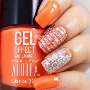 Orange & Silver Nails nail art by Beauty Intact