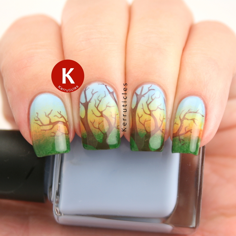 Sunset tree nail art by Claire Kerr