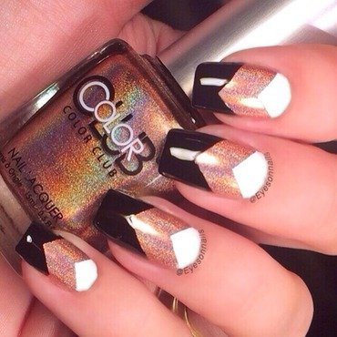 Holo, black & white  nail art by Virginia