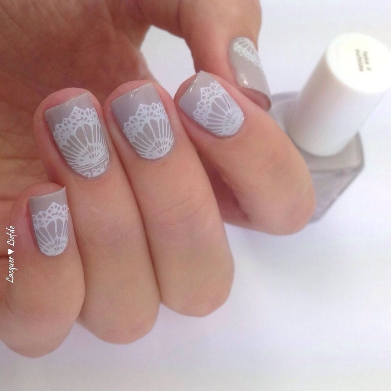 Delicate Wedding Stamping nail art by Anna