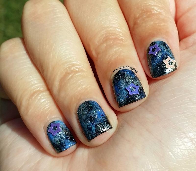 Blue Galaxy Nails nail art by Monica