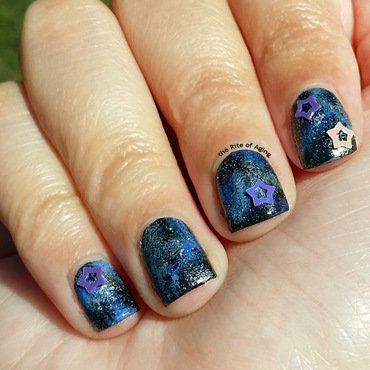 Blue Galaxy Nails nail art by Monica