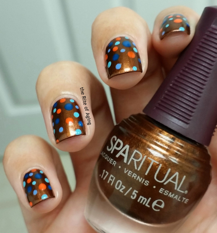 Orange-Blue Dotticure nail art by Monica