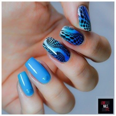 Black & Blue nail art by Love Nails Etc