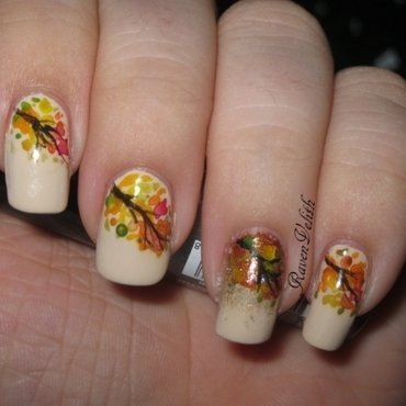 Watercolour Autumn Leaves inspired by JauntyJuli nail art by Lynni V.