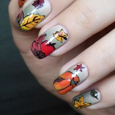 First Day Of Fall nail art by barbrafeszyn