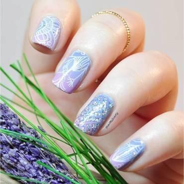 Lavander field nail art by GlitterMySocksOff