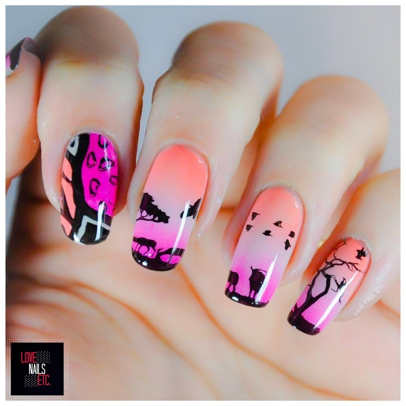 Wild Sunset nail art by Love Nails Etc
