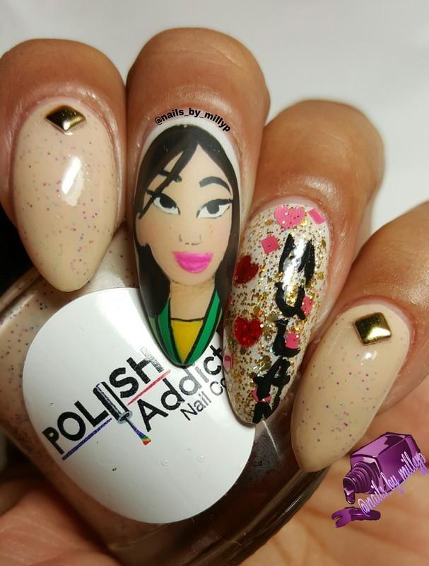 Mulan  nail art by Milly Palma