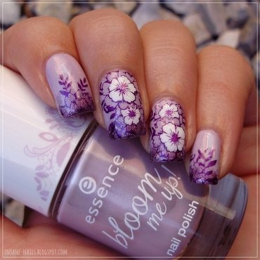 Lavender floral nails 3 thumb370f