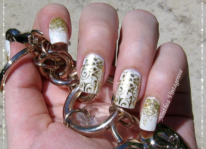 white gold nail art by Ninthea