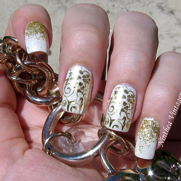 white gold nail art by Ninthea