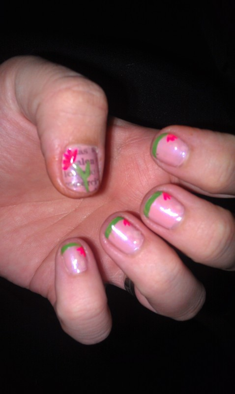 Reader Nail Art Week: Reading And Flowers Nail Art By Cecilia Brown