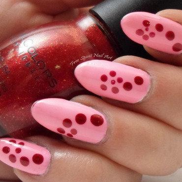 Red on Pink Dotting nail art by Free_Spirit_Nail_Art