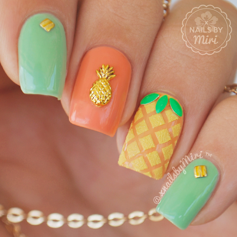 Pineapple Nails nail art by xNailsByMiri