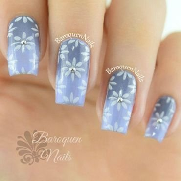 Purple Daisy nail art by BaroquenNails