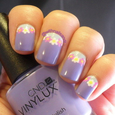 Floral Half Moon nail art by WithnailsandI