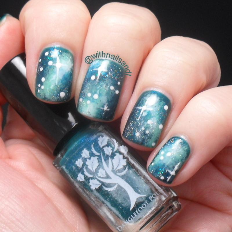 Green Galaxy nail art by WithnailsandI