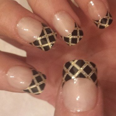 Crisscross French manicure nail art by Teena Breedon