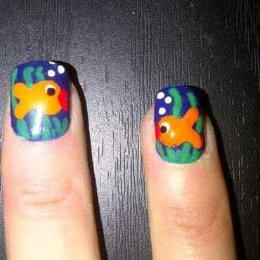 Kissey face fish nail art by Teena Breedon