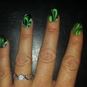 Green and black water-marbled nails  nail art by Teena Breedon