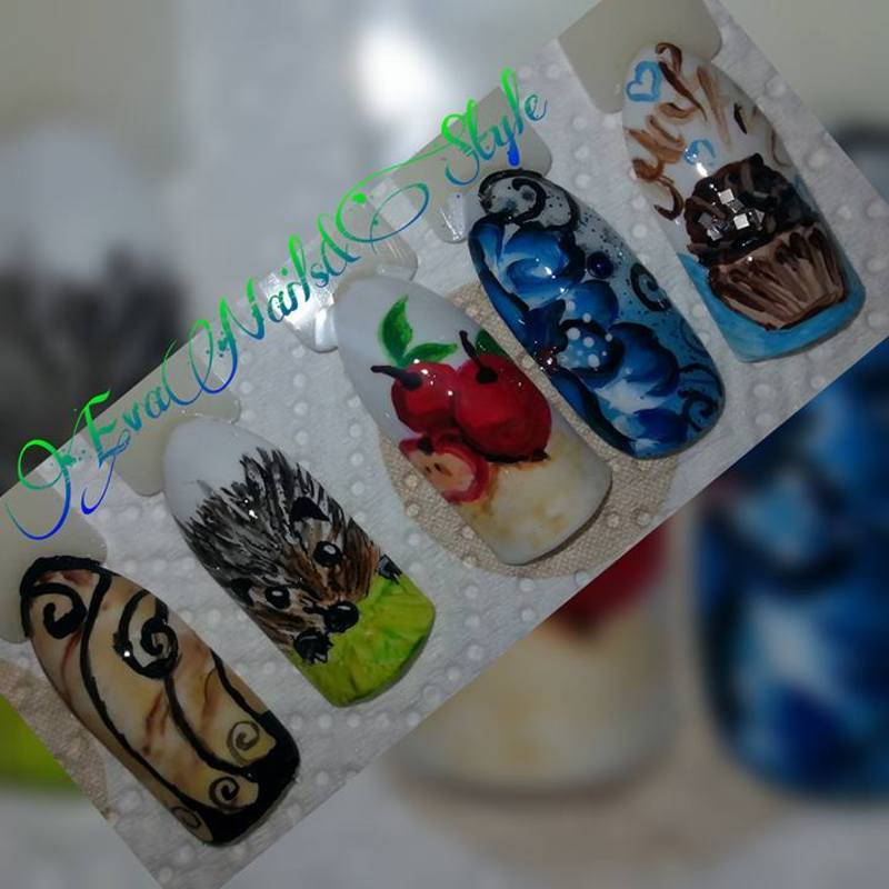 hedgehog, marble, apples, flower, muffin nail art by Ewa EvaNails