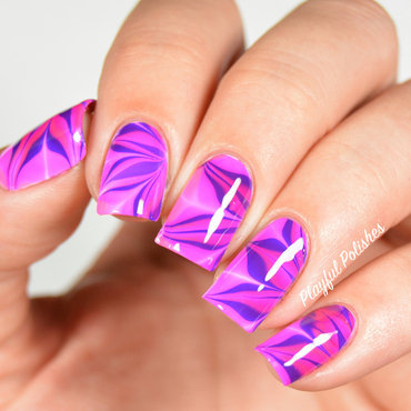 31DC2015: Day 20, Watermarble nail art by Playful Polishes