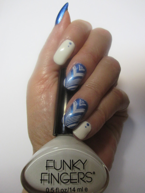 Funky Franken Chevron nail art by NinaB