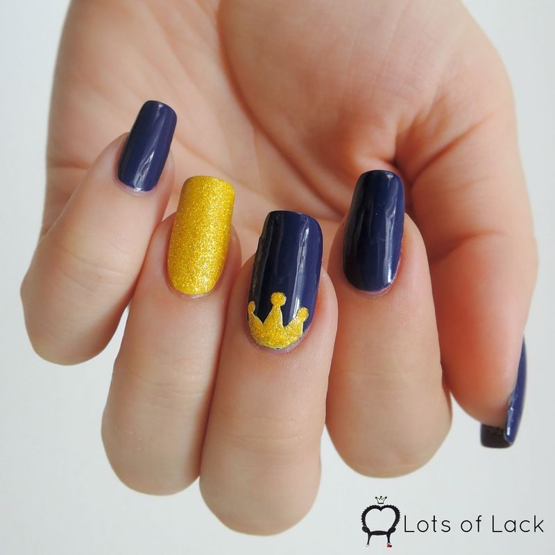 Blue and Yellow Crown Nails - Blue And Yellow Crown Nails Nail Art By LotsOfLack - Nailpolis