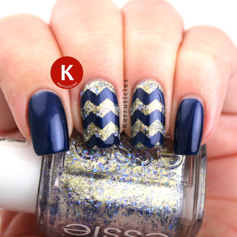 Navy and gold zig zags nail art by Claire Kerr