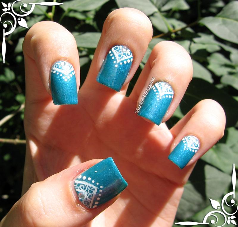 Blue princess nail art by Ninthea