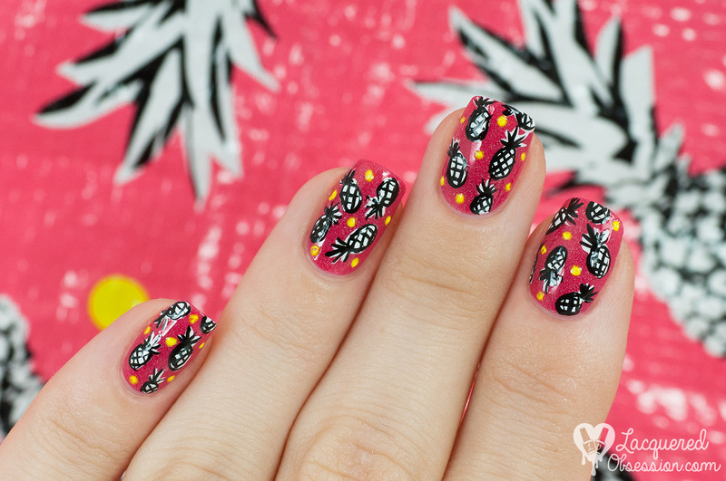 Pineapple pattern nail art by Lacquered Obsession