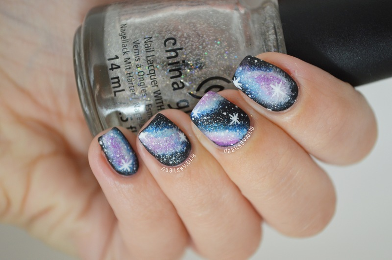 Matte galaxies nail art by Julia
