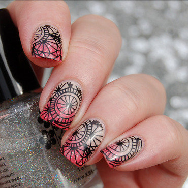 Gradient + Stamping Mani nail art by Katie of Harlow & Co.