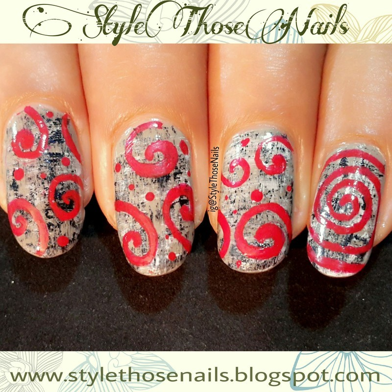 Fall Nails- Textured tweed nails with swirls nail art by Anita Style Those Nails