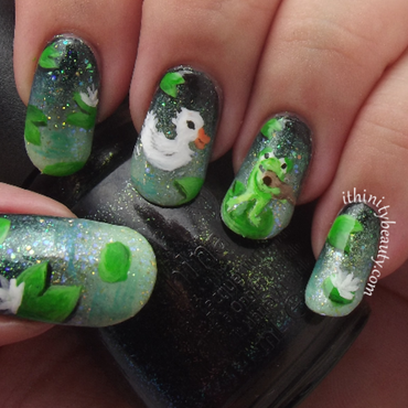 Freehand Serenading Duck Nail Art nail art by Ithfifi Williams