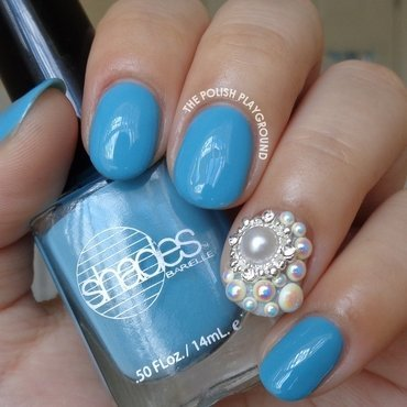 Sky Blue Creme with Blinged Accent nail art by Lisa N