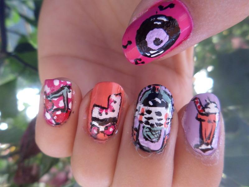 Retro 50´s nail art by Luzazul