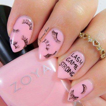 Lashes inspired nails  nail art by Glittering Hues