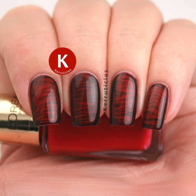 Burgundy and red needle drag nail art by Claire Kerr
