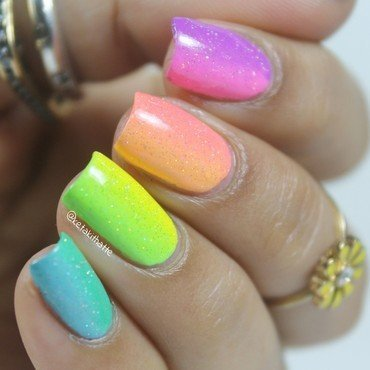 Pastel neon rainbow! nail art by ketaki thatte