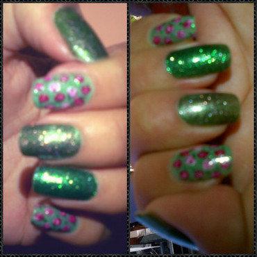 Green  nail art by Andreea