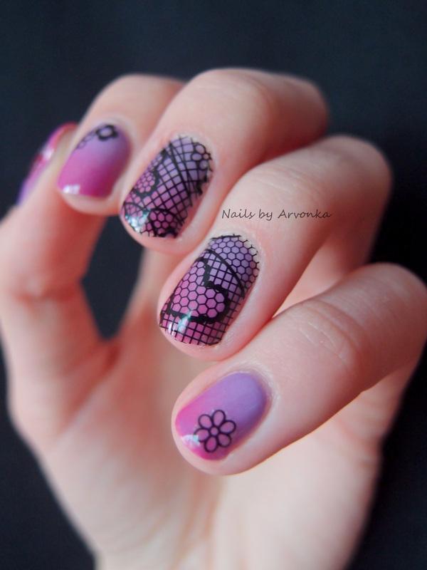 Laced Gradient nail art by Veronika Sovcikova