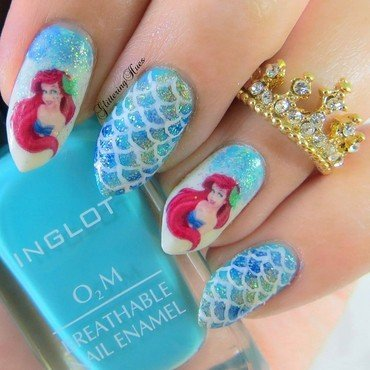 The little mermaid nails  nail art by Glittering Hues
