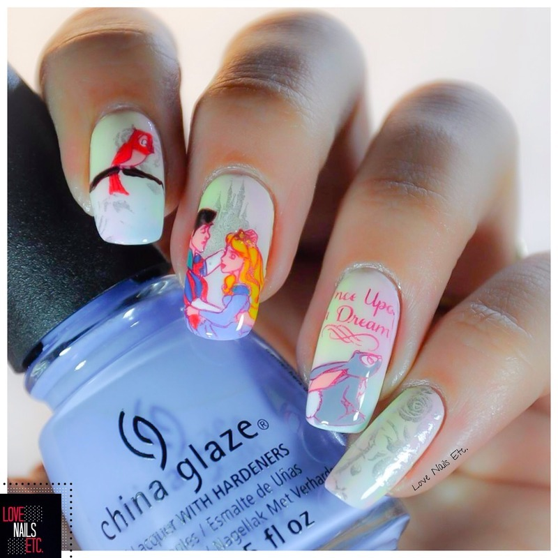 Once Upon a Dream nail art by Love Nails Etc