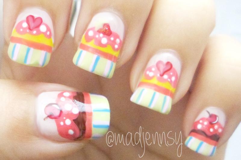 Cute Cupcake Nails! nail art by madjennsy Nail Art