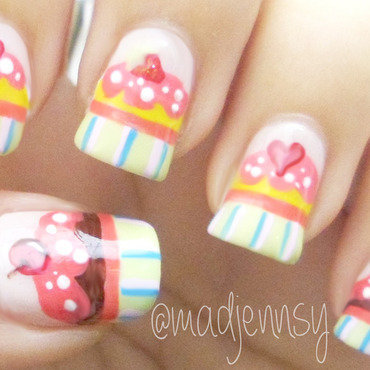 Cute Cupcake Nails! nail art by madjennsy Nail Art
