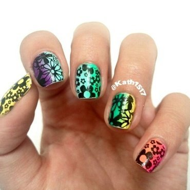 Rainbow Flowers nail art by Kath1517 (Katherin)