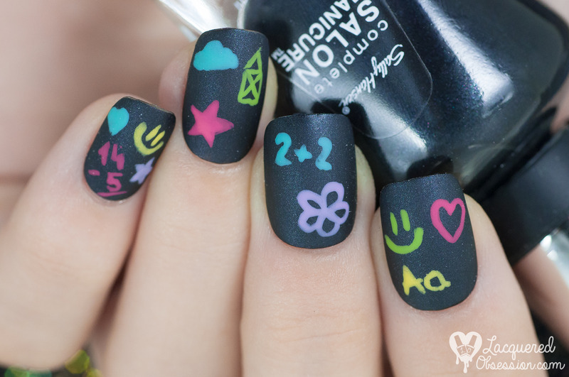 Blackboard  nail art by Lacquered Obsession