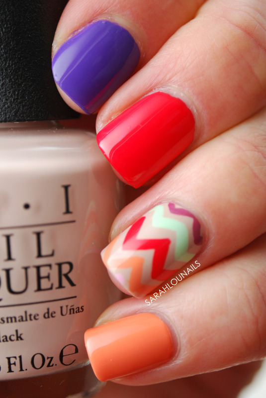 Hawaii Chevron Accent Nail nail art by Sarah S
